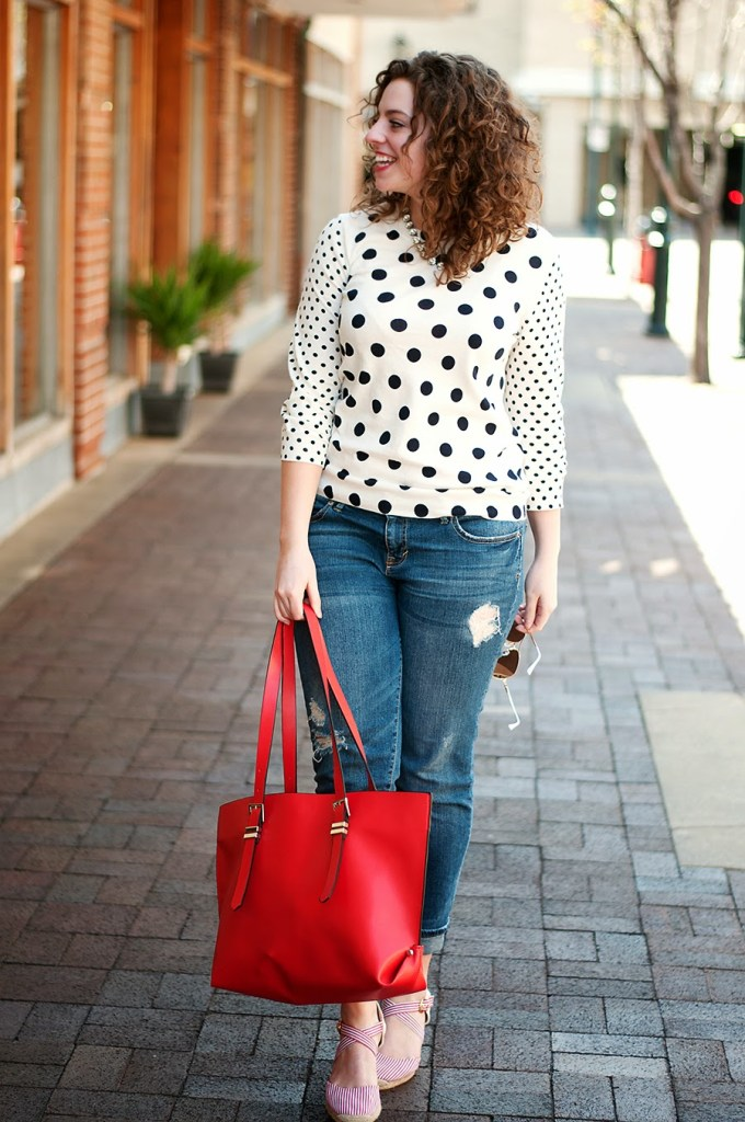 Double polka dot sweater with boyfriend jeans and red espadrilles