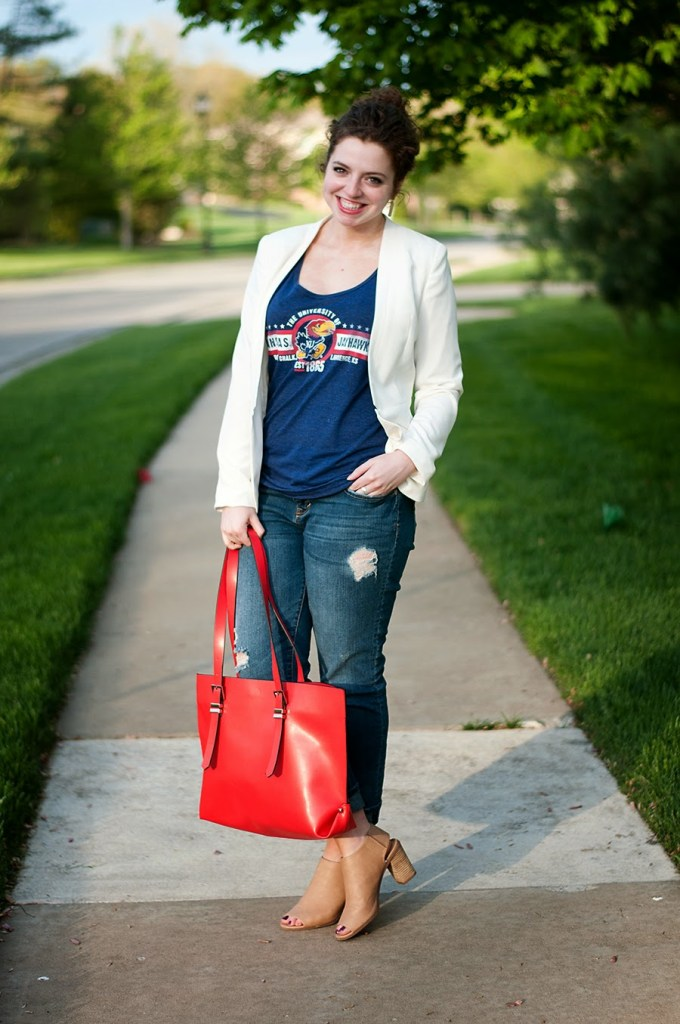 How to dress up a college t-shirt for date night
