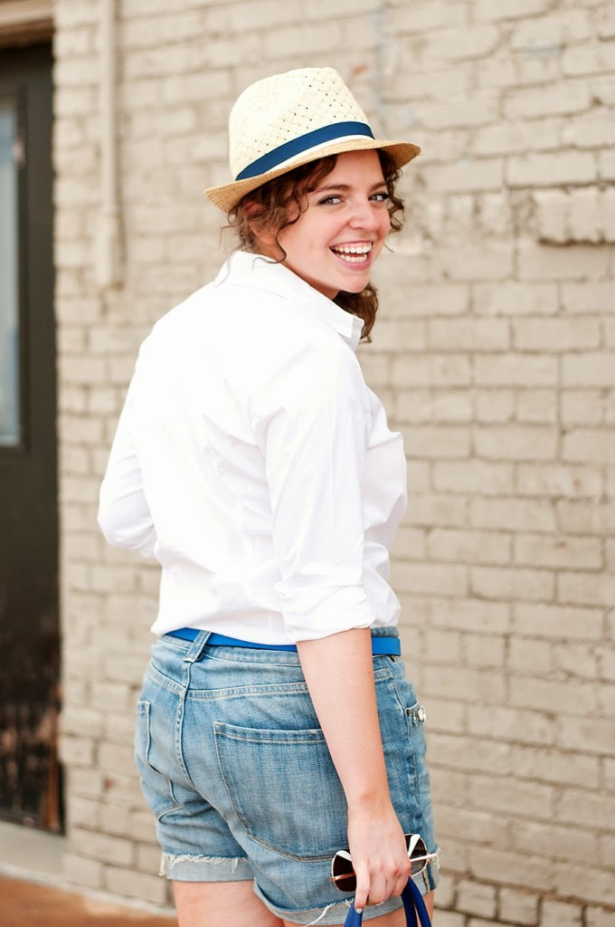 Jeweled shorts with white shirt and fedora for summer!