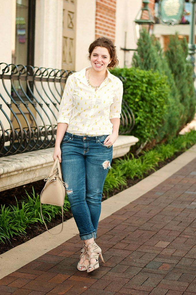 Pineapple shirt with boyfriend jeans and lace up heels