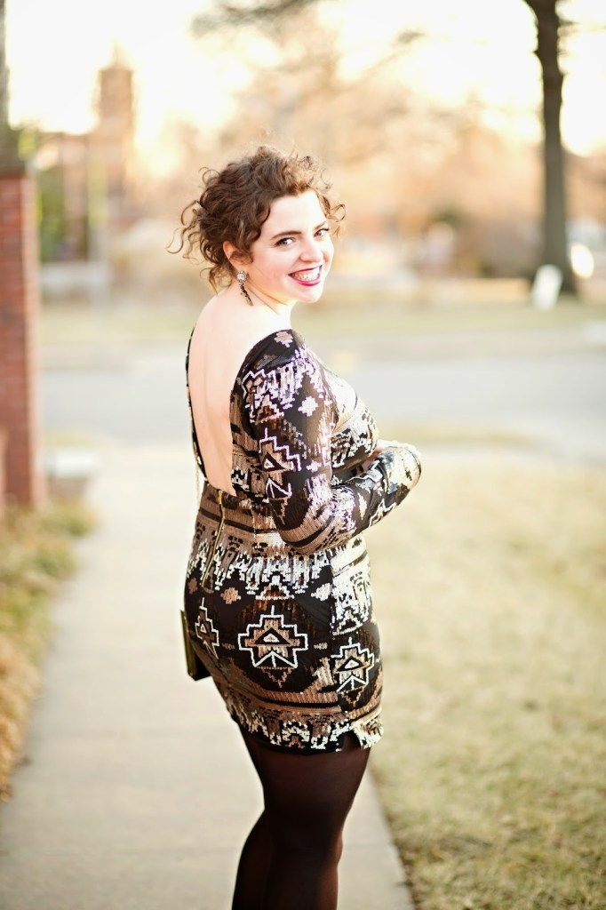 Gold and Black Sequin Backless Dress