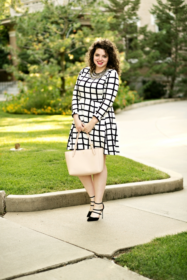 Graphic swing dress with heels for work!