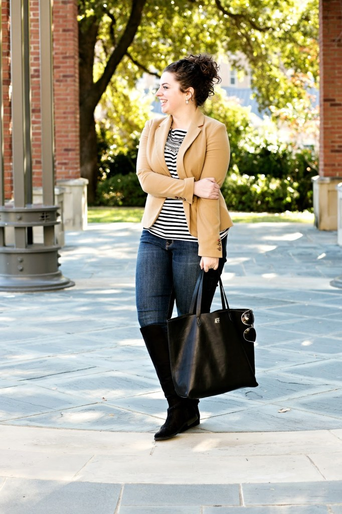 The perfect casual outfit for traveling! Layer your striped top with your favorite camel blazer, boots and statement necklace and you are set!