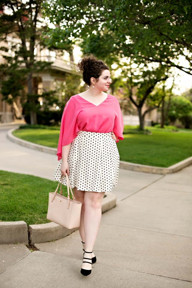 Cupcakes and Cashmere Pink top with a darling polka dot skirt