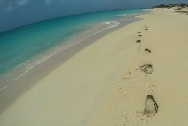 Hiking on the Beach the West Coast of Barbuda