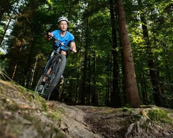 bunny-hopping a mountain bike