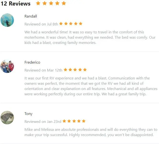 Five Star Reviews The Adventure Travelers RV