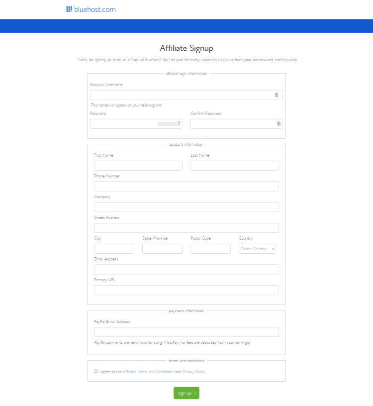 Bluehost Affiliate Program Application Form