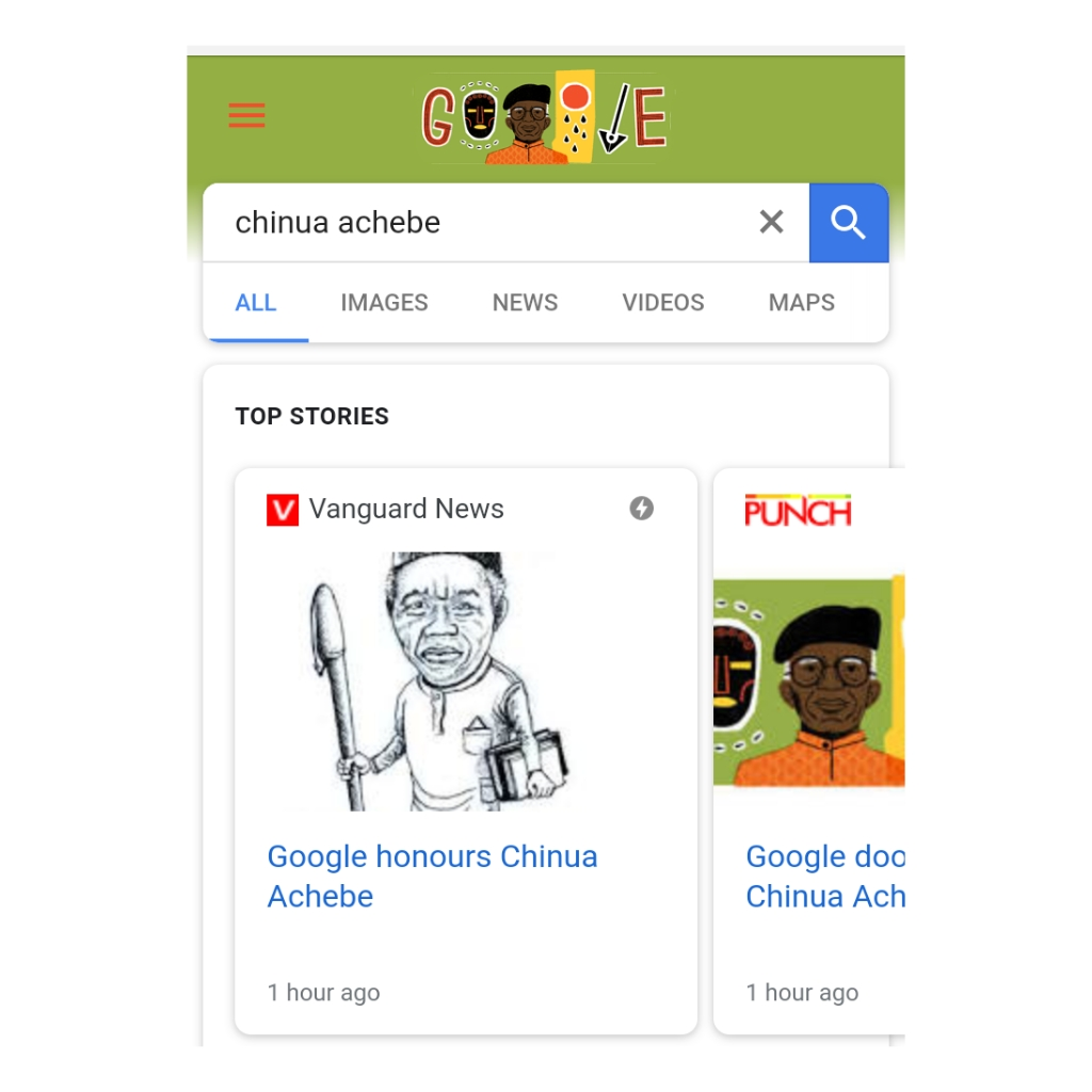 Google Doodle Celebrates Chinua Achebe On What Would Have Been His 87th Birthday