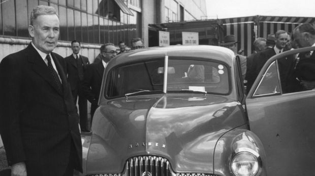 Then Prime Minister Ben Chifley with the Holden FX in 1948.