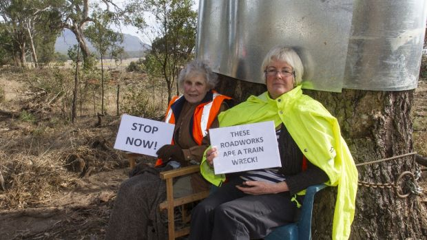 Isabel Mackenzie, left, has locked herself to a rover red gum in protest at its slated removal.