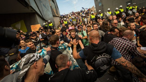 Rally against racism  protesters clash with Reclaim Australia protestors at Federation Square.
