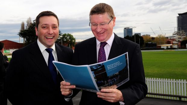 Former premier Denis Napthine (right) and now Opposition Leader Matthew Guy unveil the initial plans for Fishermans Bend in 2013.