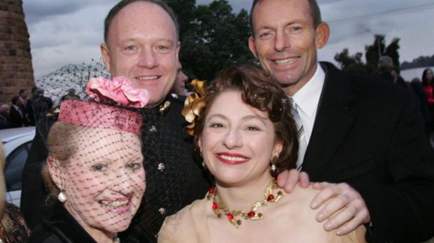 Bronwyn Bishop at the wedding of Sophie Gregory Mirabella, with Prime Minister Tony Abbott. and another wedding guest, in 2006.
