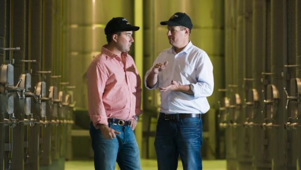 Boundary Bend co-founders Paul Riordan (left) and Rob McGavin, at one of the Victorian storage facilities for Cobram ...