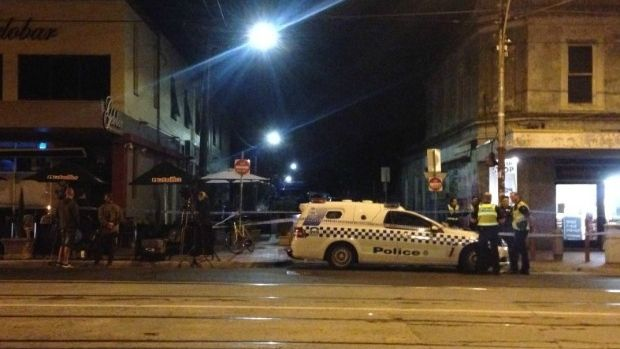Police block St Phillip Street in Brunsick East after a man's body was discovered.