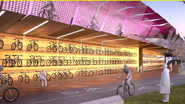 An artist's impressions of a proposed raised cycle highway for Melbourne's CBD.