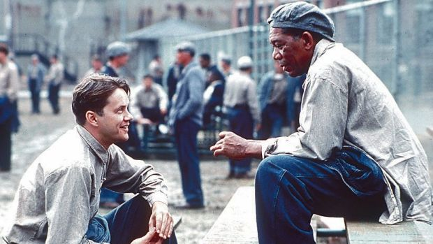 Tim Robbins and Morgan Freeman in <i>The Shawshank Redemption</i>.