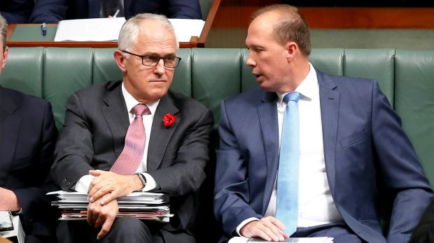 Immigration Minister Peter Dutton, pictured with Prime Minister Malcolm Turnbull, has warned Australia could see boat ...