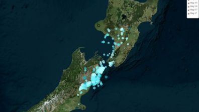 A map from GeoNet showing the distribution of aftershocks.