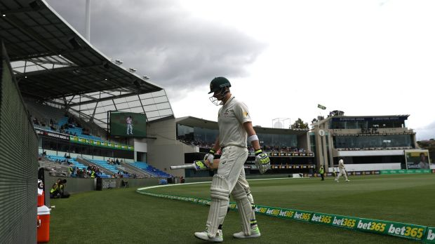 Skipper Steve Smith walks off after being dismissed on day four.