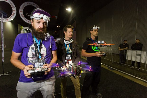 Drone racing competitors (L-R) Jamie Frederick, Michael Webb and Justin Power at DroneX, which involves drone racing and ...