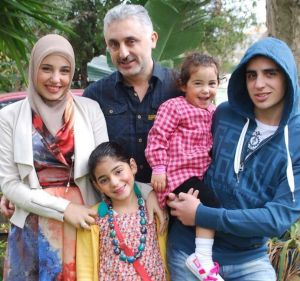 Ahmed Abou-eid, back centre, with his family (left to right) Salma, Isra, Yasmin and Aladdin. Photo: Facebook