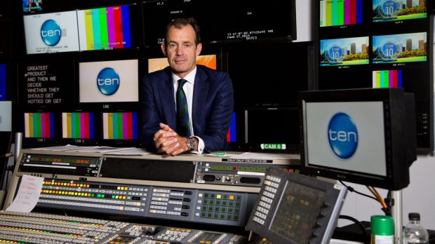 Channel Ten CEO Paul Anderson in a control room at the Channel Ten Studios in Pyrmont, Sydney.