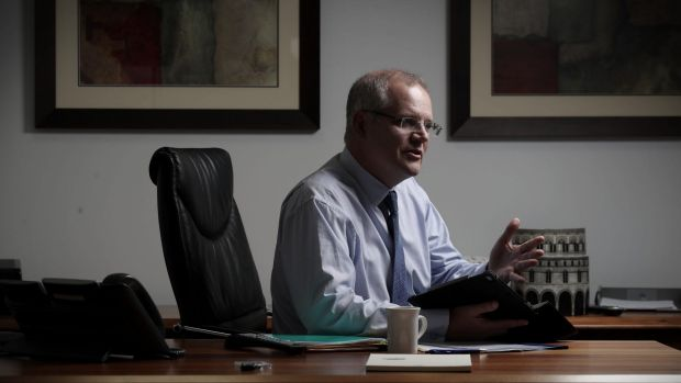 Treasurer Scott Morrison prepares the budget from his office in the Treasury building in Canberra.