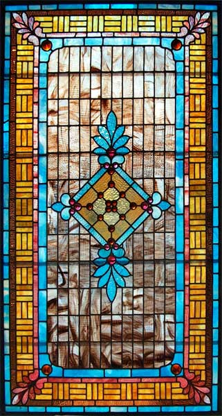 Colorful 1890 American Stained Glass Window