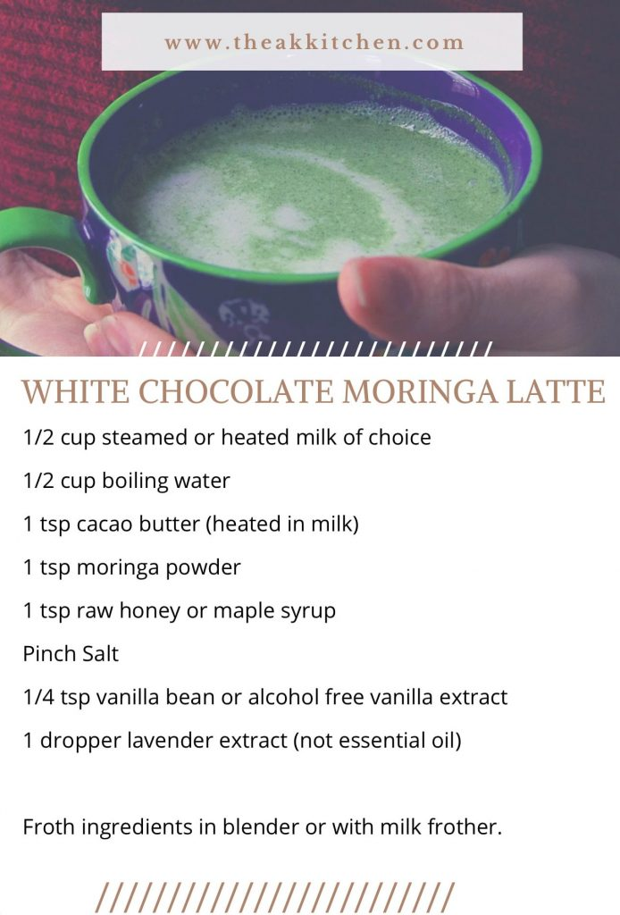 white chocolate moringa latte recipe card