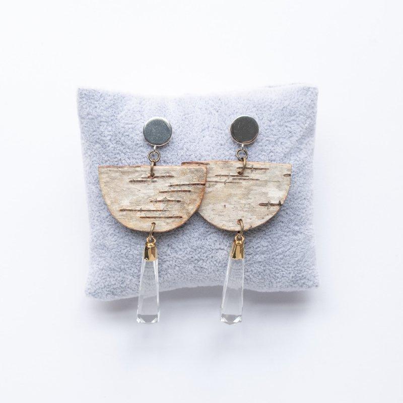 half moon birch bark earrings with quartz crystal drops