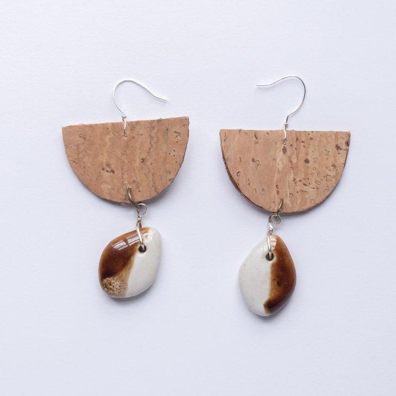 natural cork half moon drop earrings