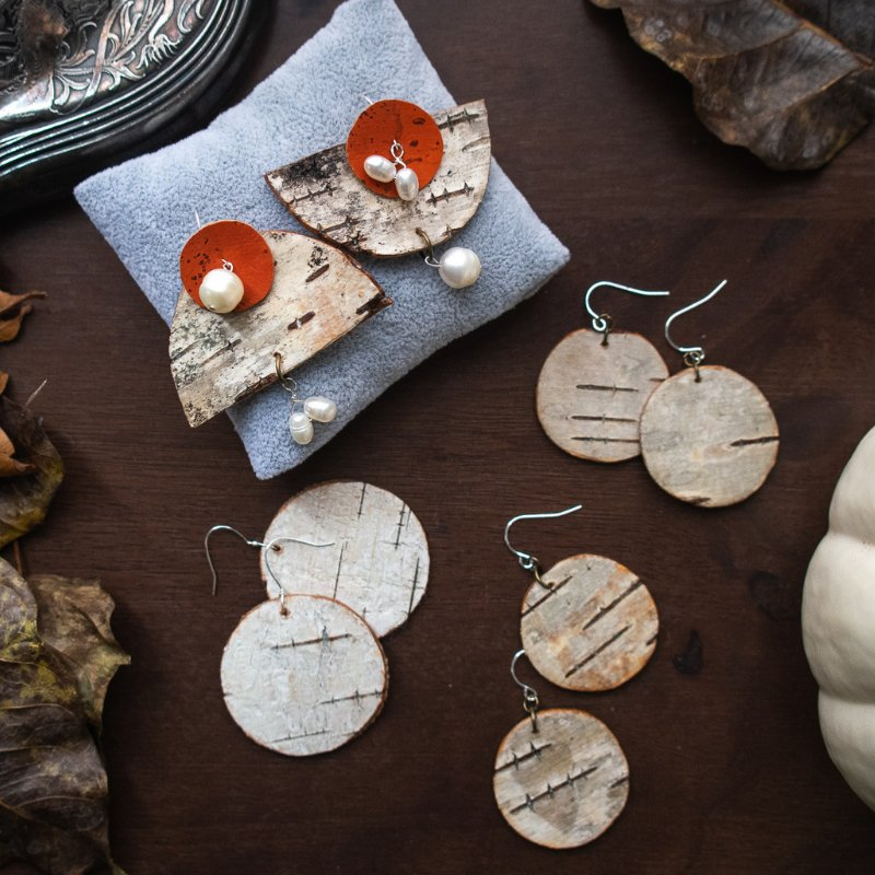 orange cork and birch bark earrings