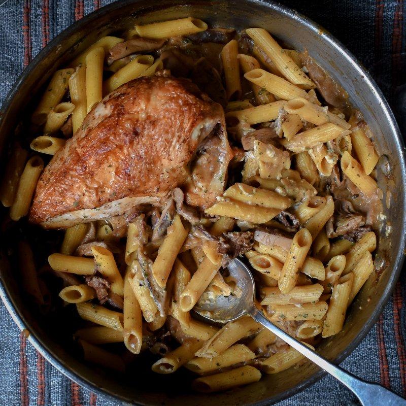 Roast Split Chicken Breast with Pumpkin Mushroom Marsala Pasta