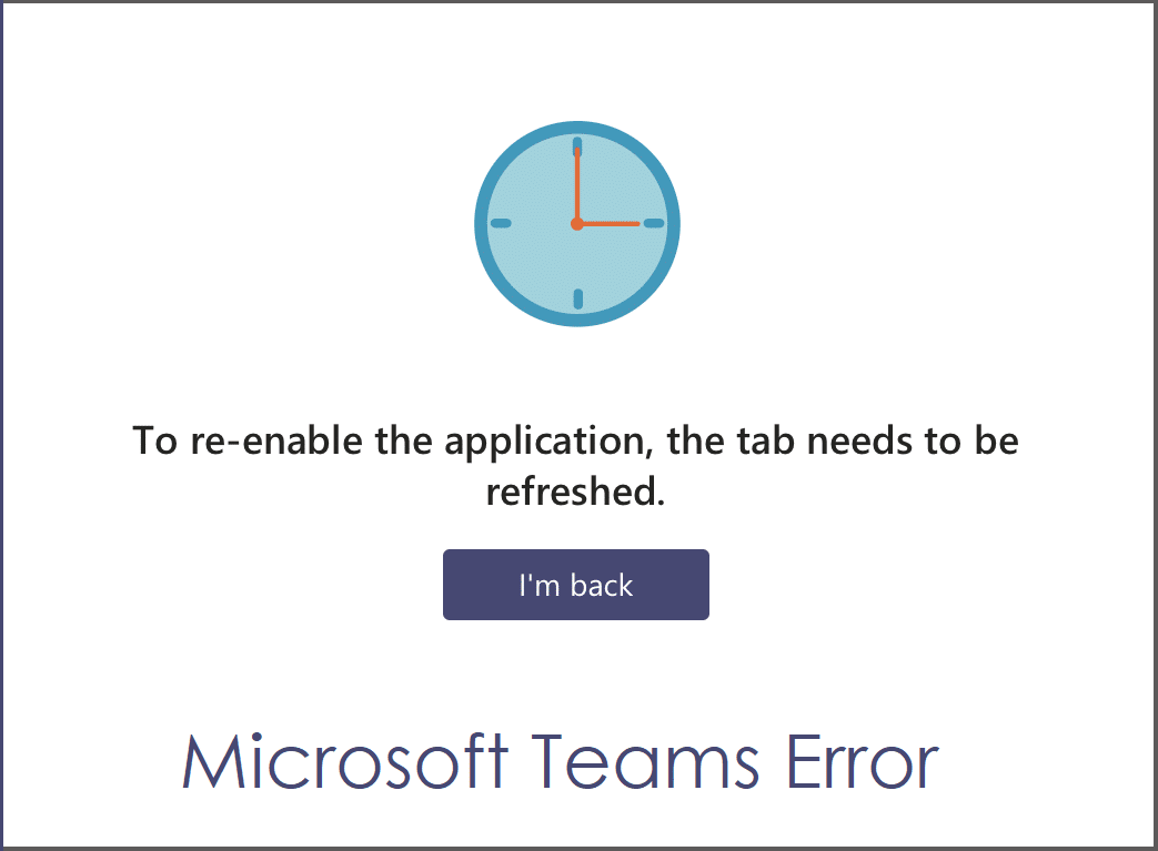 To re-enable the application the tab needs to be refreshed
