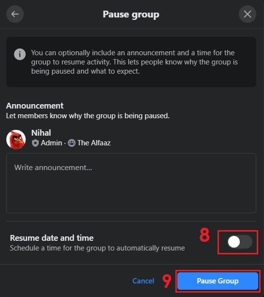 How to Pause a Facebook Group on Desktop