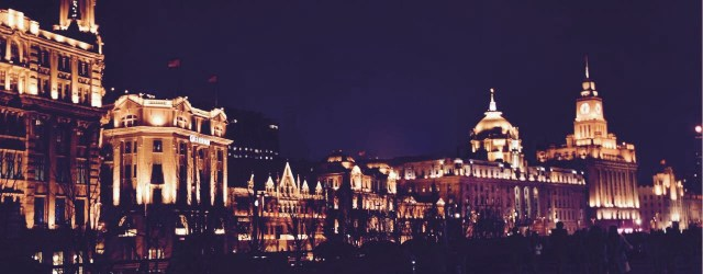 Nighttime photo of the European waterfront in Shanghai called the Bund