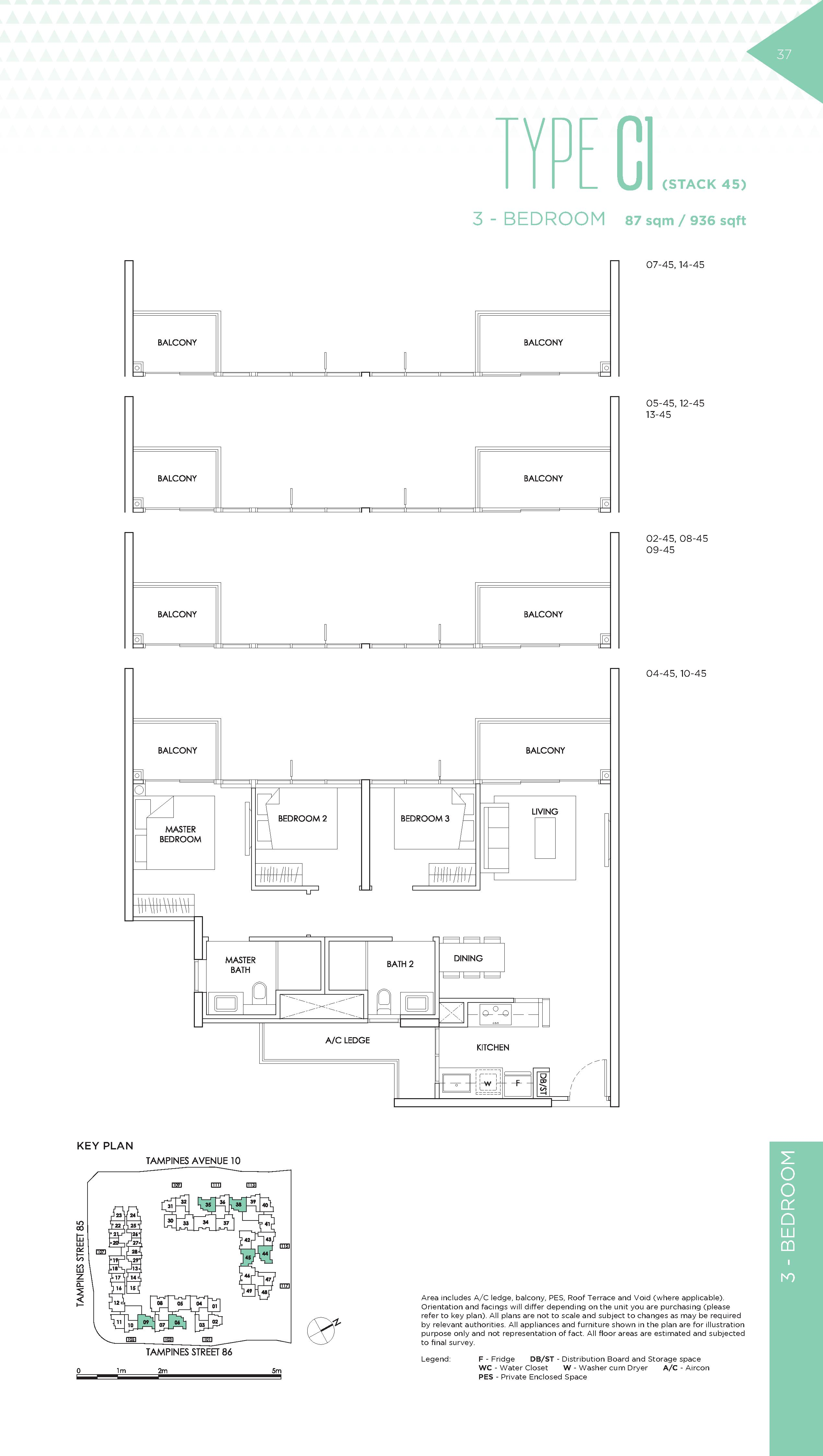 The Alps Residences 3 Bedroom Floor Plans Type C1(Stack 45)