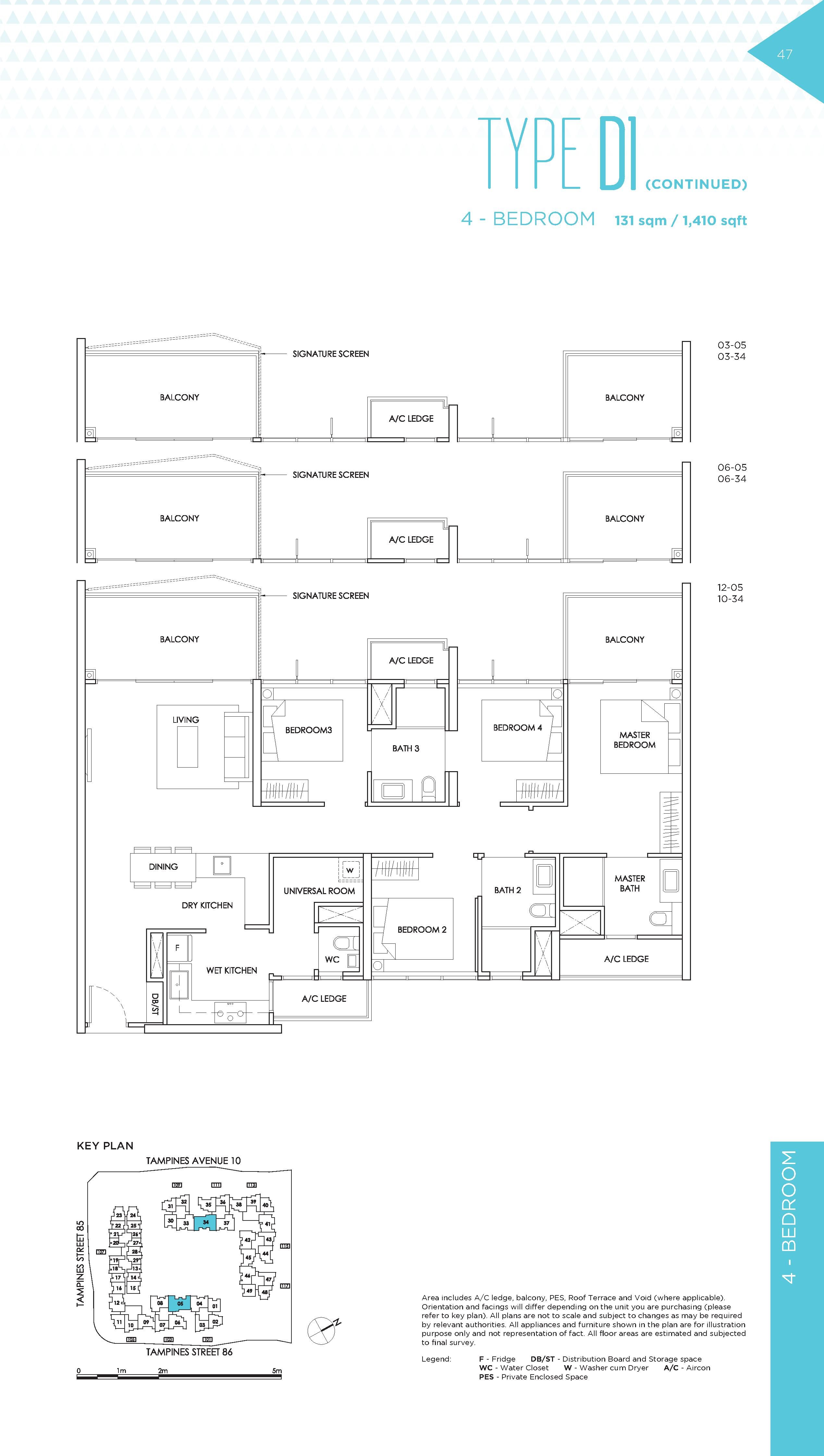 The Alps Residences 4 Bedroom Floor Plans Type D1(Continued)