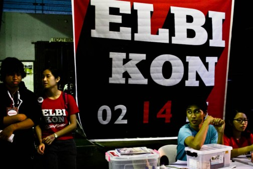 Members of the Graphic Literature Guild, a student organization in UPLB, stand by and welcome attendees at Elbikon 2015 held at the Baker Memorial Hall in U.P. Los Baños. Photo by: Chris Quintana