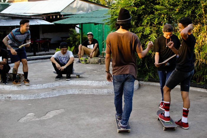 Skaters do rock, paper, scissors to settle who goes first in the Game of Skate mini tournament held at LB Square, a nightlife hub just outside the University of the Philippines campus in Los Banos, Laguna. Photo by: Chris Quintana