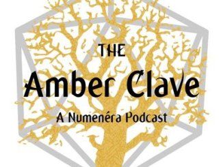 The Amber Clave logo reads The Amber Clave: A Numenera Podcast with an amber tree behind it, and the outline of a grey d20 behind that.