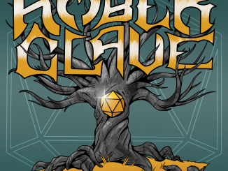 A tree with an amber d20 in the trunk is rooted in a chunk of rock. Jagged text reads 'amber clave'