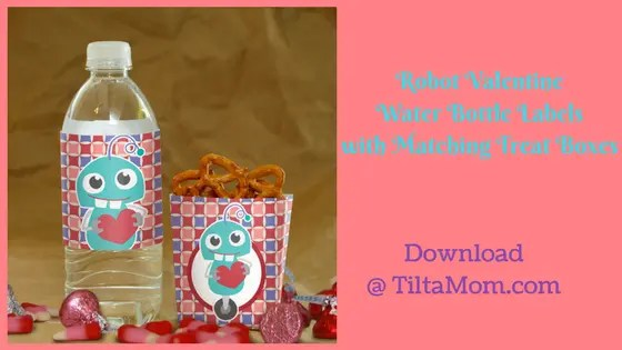Robot Valentine's Day Bottle Labels and Treat Boxes