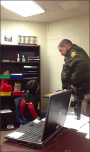 Deputy Sheriff Kevin Sumner has handcuffed up to 20 school children.