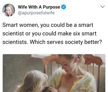 """""""Smart women, you could be a smart scientist or you could make six smart scientists. Which serves society better?"""""""