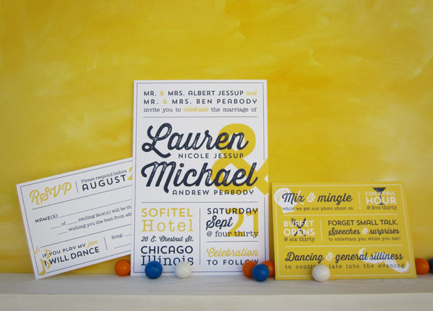 Orange And Blue Letterpress Overprint Wedding Invitations By Studio Slomo Via Oh So Beautiful Paper