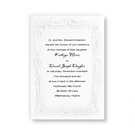 Embossed Swiss Dot Bright White Wedding Invitations