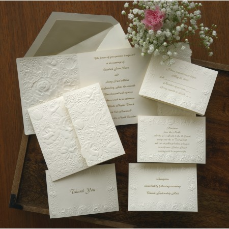 Embossed Gate Monogram Border Wedding Invitation